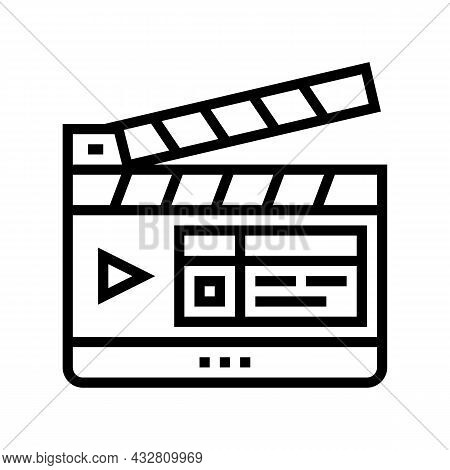Clapperboard Numbering Tool Line Icon Vector. Clapperboard Numbering Tool Sign. Isolated Contour Sym