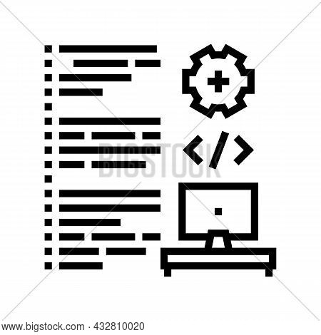 Software Developing Line Icon Vector. Software Developing Sign. Isolated Contour Symbol Black Illust
