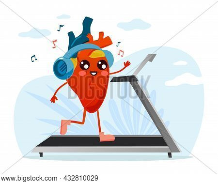 Useful Healthy Training For Heart. Body Organ Runs On Treadmill And Listens To Music On Headphones.