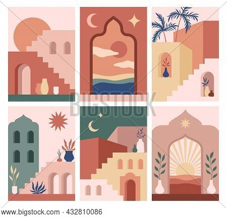 Abstract Architecture Posters. Simple Geometric Staircases And Eastern Arches, Moroccan Style Simple