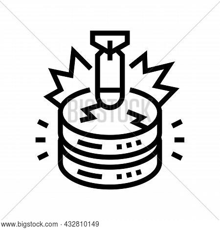 Attack Database Line Icon Vector. Attack Database Sign. Isolated Contour Symbol Black Illustration