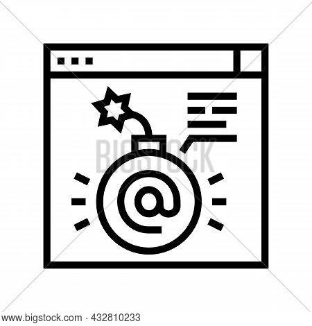 Fraud Internet Problem Line Icon Vector. Fraud Internet Problem Sign. Isolated Contour Symbol Black