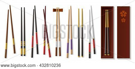 Realistic Chopsticks. Asian Tableware. Traditional Japanese Or Chinese Wooden Cutlery. Isolated Sush
