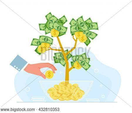 Business Hands Money. Growing Tree And Hand With Golden Flowers Coins And Dollar Cash, Successful In