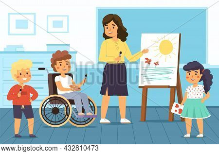 Disability Kids School. Educational Projects. Children With Disabilities Study In Mixed Classes. Tea
