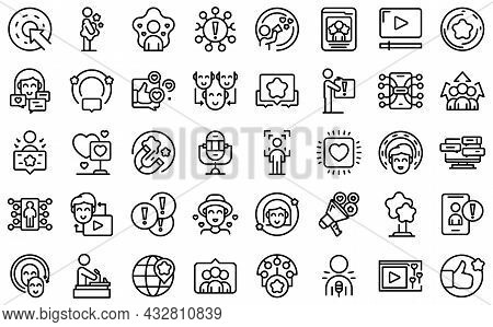 Influencer Icons Set Outline Vector. Video Subscribe. View Content