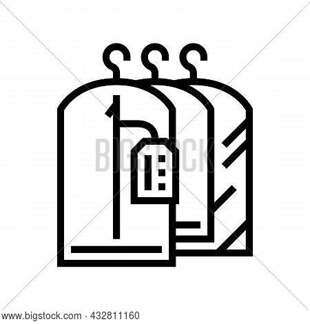 Clean Clothes In Dry Cleaning Service Line Icon Vector. Clean Clothes In Dry Cleaning Service Sign.