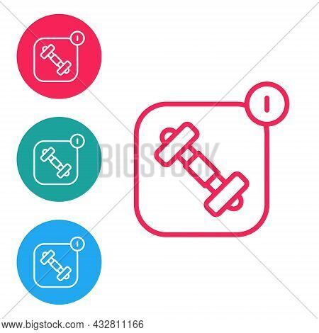 Red Line Fitness App For Sports Icon Isolated On White Background. Healthcare Mobile App Concept. On