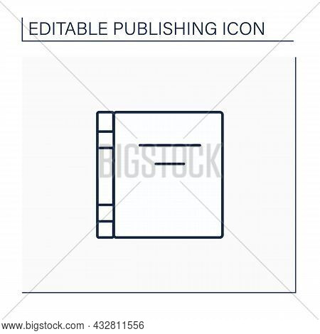 Front Cover Line Icon. Front Page In Books, Magazines. Essential Elements Is Title And Author Name.p