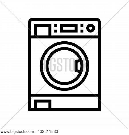 Laundry Machine Line Icon Vector. Laundry Machine Sign. Isolated Contour Symbol Black Illustration