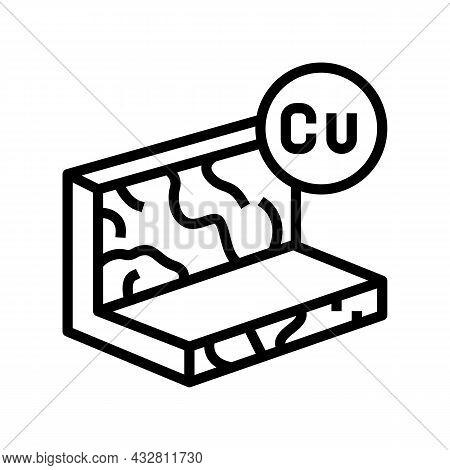 Copper Metal Profile Line Icon Vector. Copper Metal Profile Sign. Isolated Contour Symbol Black Illu