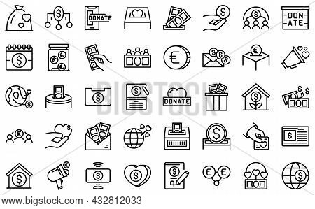 Fundraising Icons Set Outline Vector. Contribute Donate. Charitable Give