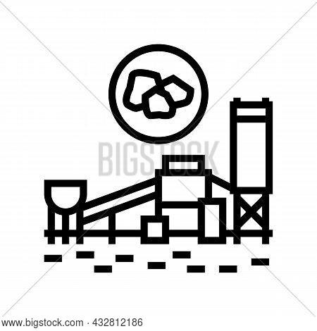 Coal Processing Plant Line Icon Vector. Coal Processing Plant Sign. Isolated Contour Symbol Black Il