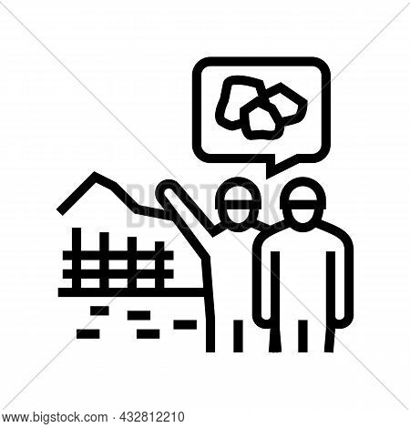 Construction Supervision And Monitoring Line Icon Vector. Construction Supervision And Monitoring Si