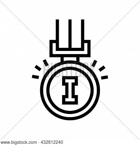 Champion Award Line Icon Vector. Champion Award Sign. Isolated Contour Symbol Black Illustration