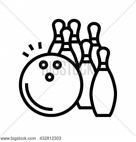 Bowling Game Line Icon Vector. Bowling Game Sign. Isolated Contour Symbol Black Illustration