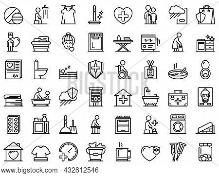Home Care Services Icons Set Outline Vector. Old Senior. Nurse People