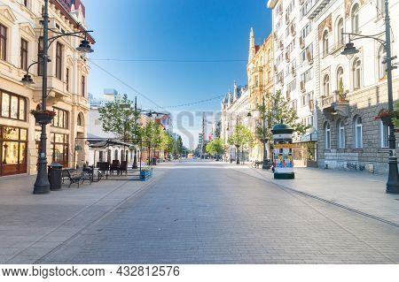 Lodz, Poland - June 7, 2021: Piotrkowska Street, Main Shopping Street And Representative, Shopping A