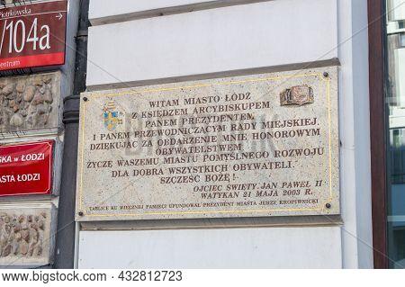 Lodz, Poland - June 7, 2021: Thank You Board By John Paul Ii For Granting John Paul Ii Honorary Citi