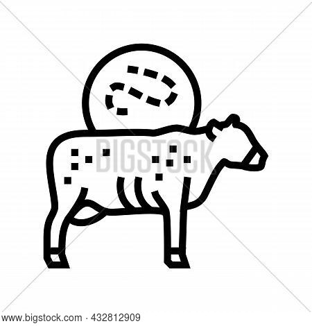 Anthrax Cow Line Icon Vector. Anthrax Cow Sign. Isolated Contour Symbol Black Illustration