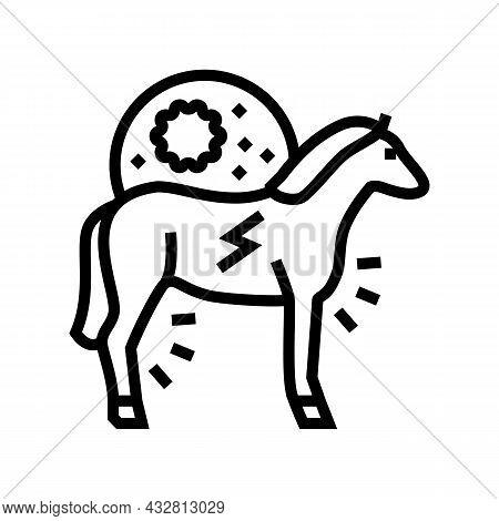 Encephalitis Horse Line Icon Vector. Encephalitis Horse Sign. Isolated Contour Symbol Black Illustra
