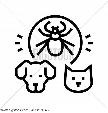 Mite On Animal Body Line Icon Vector. Mite On Animal Body Sign. Isolated Contour Symbol Black Illust