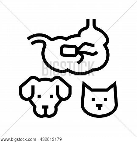Salmonellosis Dog And Cat Line Icon Vector. Salmonellosis Dog And Cat Sign. Isolated Contour Symbol