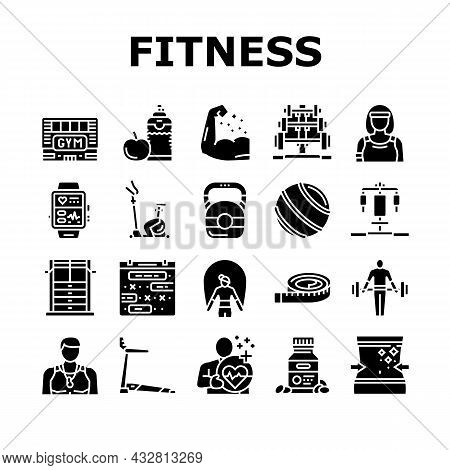 Fitness Health Athlete Training Icons Set Vector. Sportsman Equipment For Make Muscle Exercise And F