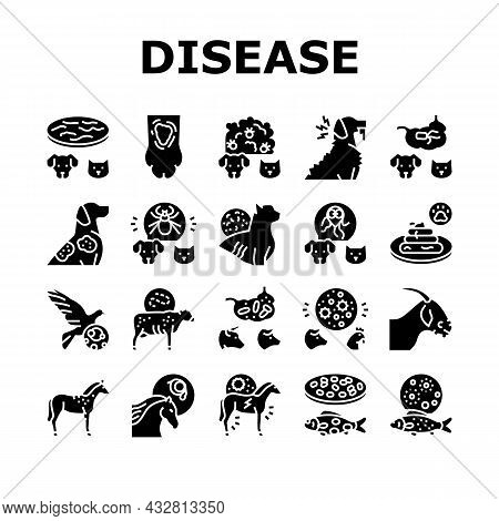 Pet Disease Ill Health Problem Icons Set Vector. Salmonellosis And Tapeworm, Psittacosis And Sarcopt