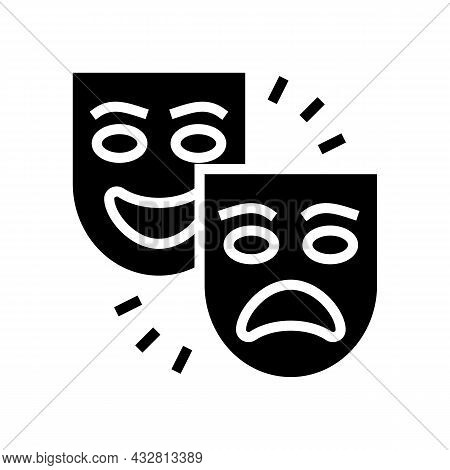 Theater Tragedy And Comedy Glyph Icon Vector. Theater Tragedy And Comedy Sign. Isolated Contour Symb