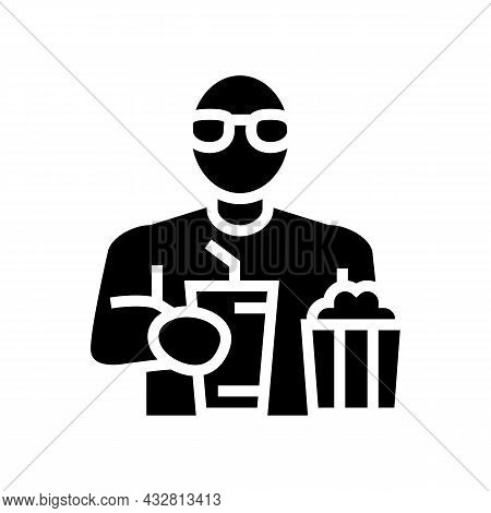 Spectator Watching Movie And Eating Popcorn In Cinema Glyph Icon Vector. Spectator Watching Movie An