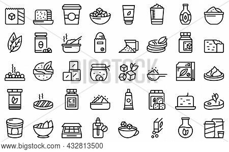 Food Substitutes Icons Set Outline Vector. Sweetener Alternative. Artificial Calories