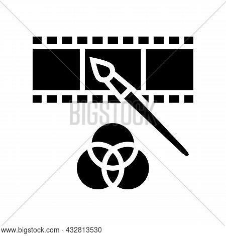Video Editor Glyph Icon Vector. Video Editor Sign. Isolated Contour Symbol Black Illustration