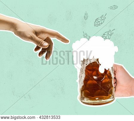 Contemporary Art Collage With Hand Touching Beer Glass With Lager, Crafted Cold Frothy Beer. Concept