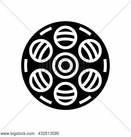 Film Bobbin Glyph Icon Vector. Film Bobbin Sign. Isolated Contour Symbol Black Illustration
