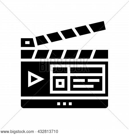 Clapperboard Numbering Tool Glyph Icon Vector. Clapperboard Numbering Tool Sign. Isolated Contour Sy