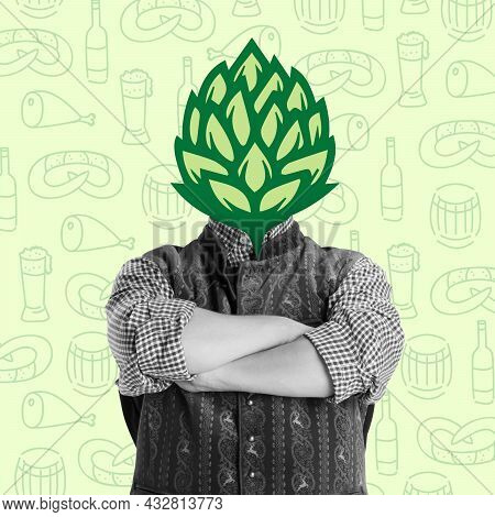 Composition With Man Dressed In Bavarian Holiday Costume Headed Of Wild Hop Isolated On Light Backgr