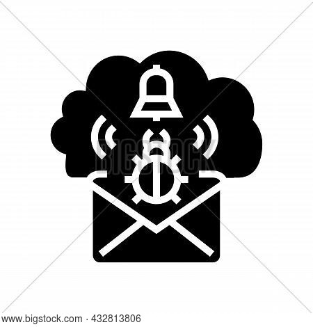 Threat Cyber Security Glyph Icon Vector. Threat Cyber Security Sign. Isolated Contour Symbol Black I
