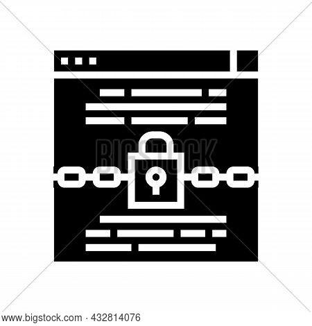 Padlock Security Technology Tool Glyph Icon Vector. Padlock Security Technology Tool Sign. Isolated