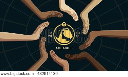 Detailed Flat Vector Illustration Of The Zodiac Horoscope Sign Of Aquarius Surrounded By Human Hands