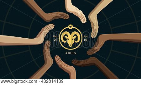 Detailed Flat Vector Illustration Of The Zodiac Horoscope Sign Of Aries Surrounded By Human Hands Fr