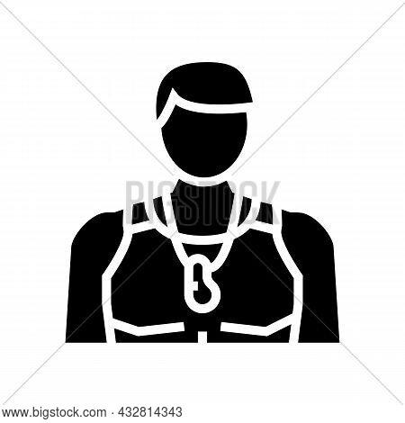Trainer Athlete Man Glyph Icon Vector. Trainer Athlete Man Sign. Isolated Contour Symbol Black Illus