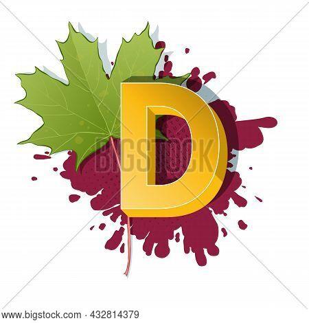 Autumn 3D Pop Art Alphabet - Colorful Bold Letter D