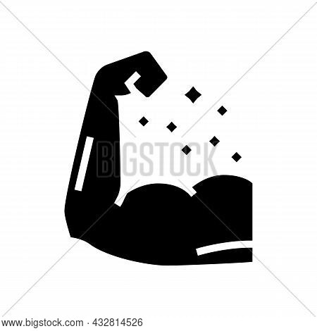 Sportsman Muscle Glyph Icon Vector. Sportsman Muscle Sign. Isolated Contour Symbol Black Illustratio