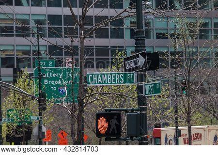 NEW YORK, NY, USA - APRIL 22, 2015: NYC street sign`s on Lower Manhattan