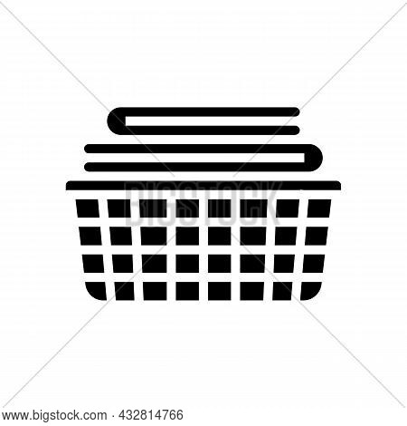 Washed Clean Fabric Clothes In Basket Glyph Icon Vector. Washed Clean Fabric Clothes In Basket Sign.