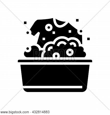 Washing Clothing In Basin Glyph Icon Vector. Washing Clothing In Basin Sign. Isolated Contour Symbol