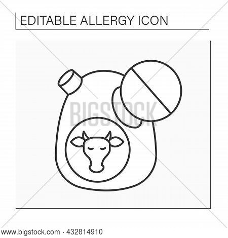 Allergy To Food Line Icon. Lactose Intolerance. Dairy Allergy. Healthcare Concept. Isolated Vector I