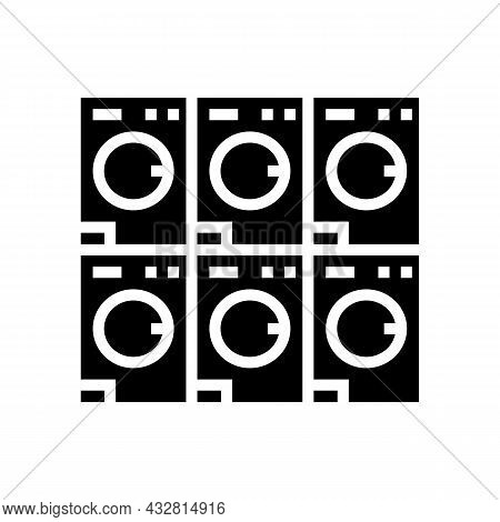 Laundromat Equipment For Washing Clothes Glyph Icon Vector. Laundromat Equipment For Washing Clothes