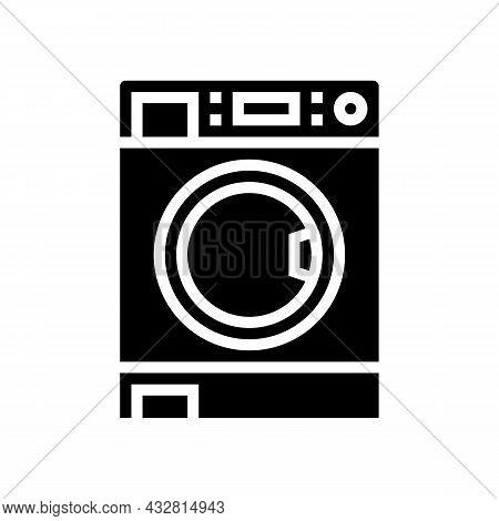 Laundry Machine Glyph Icon Vector. Laundry Machine Sign. Isolated Contour Symbol Black Illustration